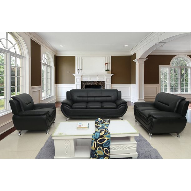 Uspridefurniture Timmy T Faux Leather 3, Black Living Room Set