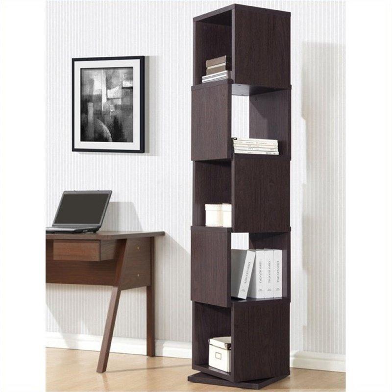 Atlin Designs 5 Cubby Rotating Bookcase in Dark Brown