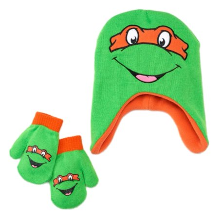 Nickelodeon Mutant Ninja Turtles Toddler Boys Beanie Trapper Hat & Mittens Set