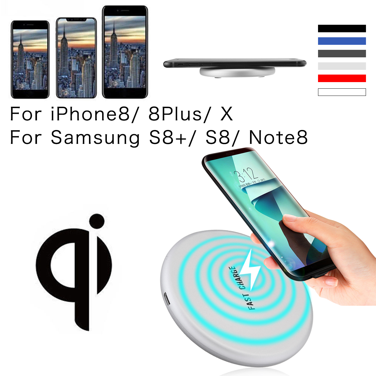 Qi Fast Wireless Charger Charging Pad Vertical wireless charging For iPhone X 8 Plus For SamSung Galaxy S9 US