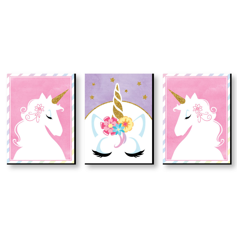 Rainbow Unicorn   Baby Girl Nursery Wall Art U0026 Kids Room Decor   7.5u201d X 10u201d    Set Of 3 Prints