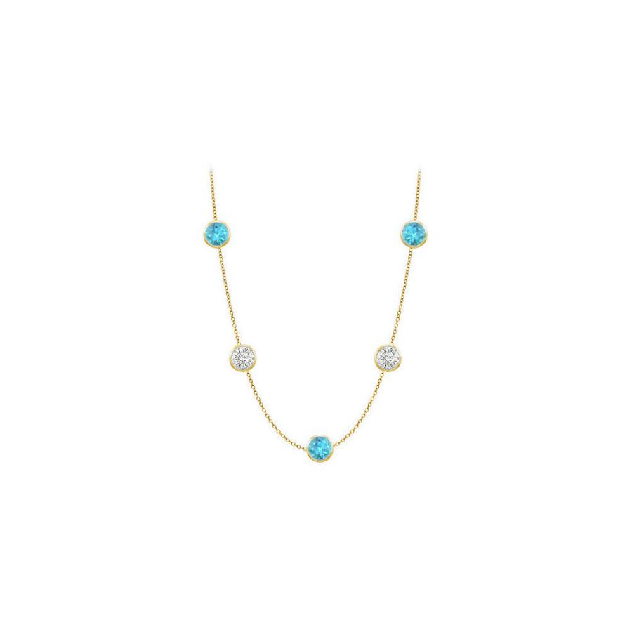 LoveBrightJewelry Bezel set blue topaz by yard necklace with cubic zirconia in 14k Yellow Gold cable chain 36 inch by Love Bright