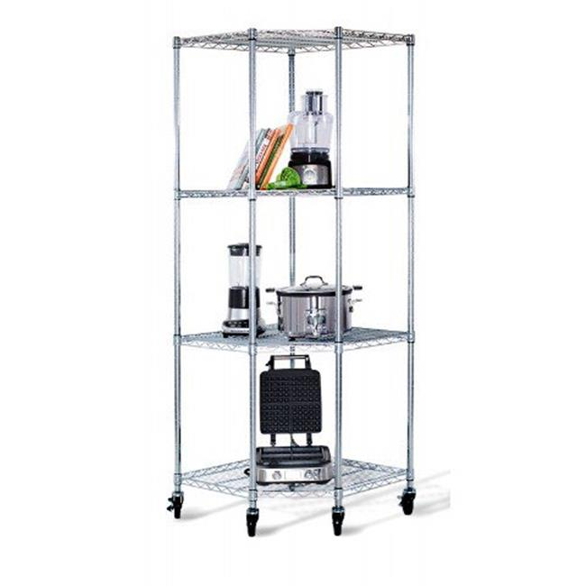 4 Tier Corner Wire Shelving Rack with Wheels, Chrome - 77 x 27 x 27 in.