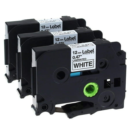 Label KINGDOM 3 Pack Replace P Touch Label Tape Compatible Brother P-Touch Label Maker (TZ231 TZe231) Black on White, 0.47