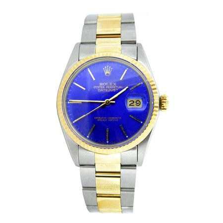 Pre-Owned Mens Rolex Two-Tone Datejust Watch Blue 16013 (SKU 6166215MT) Rolex Datejust Two Tone