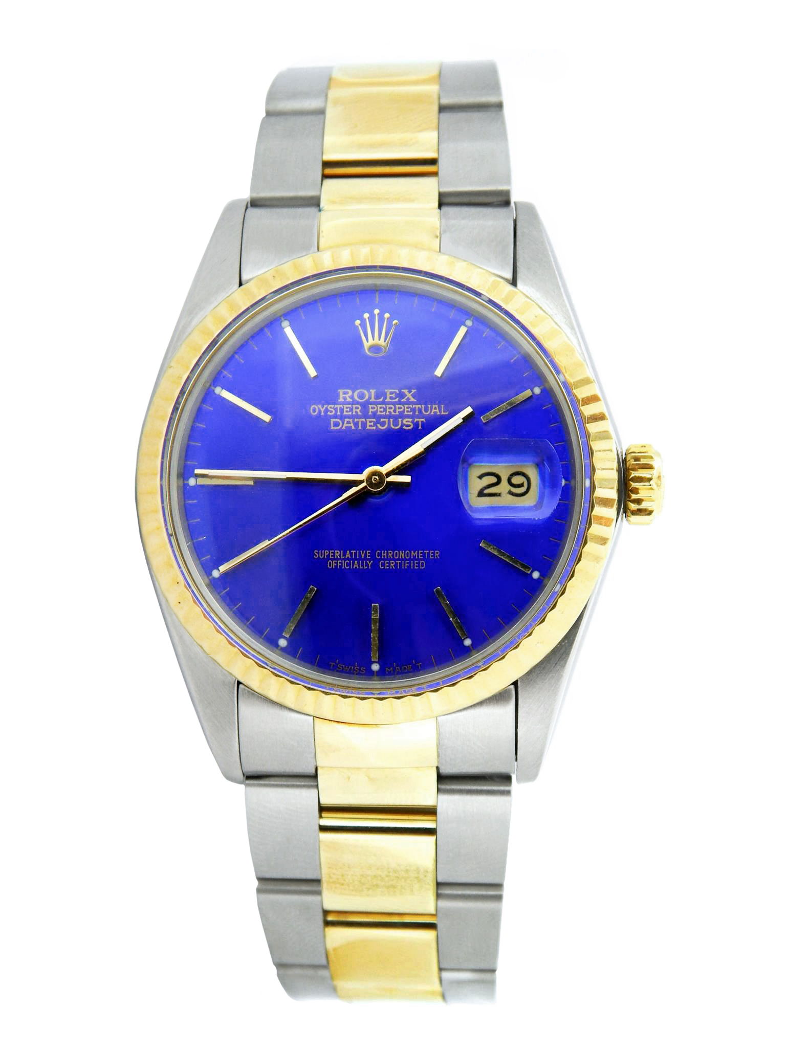 Pre-Owned Mens Rolex Two-Tone Datejust Watch Blue 16013 (SKU 6166215MT)