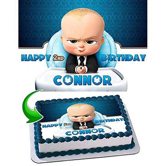 Boss Baby Cake Edible Image Topper Personalized Birthday 1 4 Sheet Decoration Party Sugar Frosting Transfer Fondant For