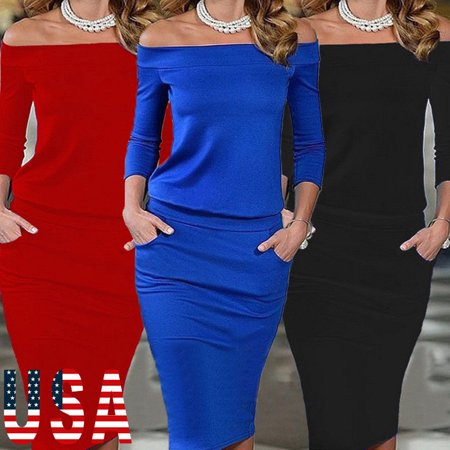 US Women Long Sleeve Off Shoulder Bodycon Evening Cocktail Party Club Long Dress Cocktail Evening Club Dress