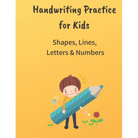 Handwriting practice for Kids Shapes, Lines, Letter and Numbers : Large Journal Notebook -- Pages contain traceable Lines and Pictures for kids, 8.5*11 inches 120 pages Apples Number Line