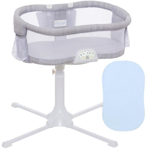 Halo Swivel Sleeper Bassinet Luxe PLUS Series Gray Melange with Blue Fitte by HALO