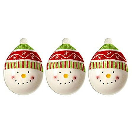 Merry Mistletoe Christmas Holiday Red Hat Snowman Appetizer Tidbit Bowls, Set of 3