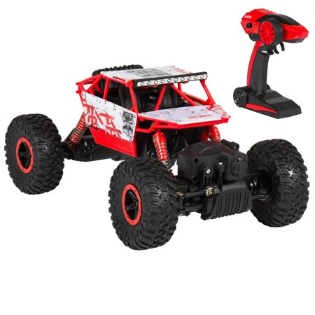 Best Choice Products 2.4Ghz 4WD RC Rock Crawler Monster Truck Toy Car w/ Charger, Rechargeable Batteries - Red/Black (big rc cars electric fast)