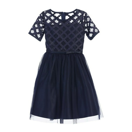 Sweet Kids Little Girls Navy Cross Hatch Satin Mesh Occasion Dress 2T-6 Childrens Occasion Dresses