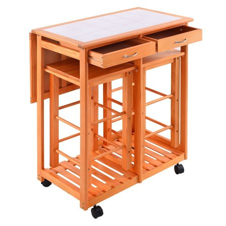 Kitchen Island Trolley Cart Rolling Drop Leaf Table With 2 Stools For Home Breakfast