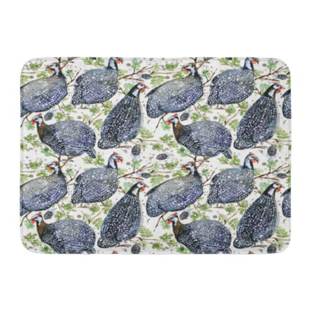 GODPOK Colorful Domestic Black Africa Guinea Fowl Bird Watercolor Blue Animal White Drawn Rug Doormat Bath Mat 23.6x15.7 inch