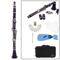 Clarinet ABS 17 Key bB Flat Soprano Binocular Clarinet with Cleaning Cloth Gloves 10 Reeds Screwdriver Reed Case Woodwind Instrument