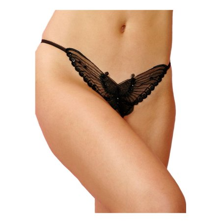 2 Piece Sheer Panties - Flirtzy Sheer Butterfly Applique Crotchless Panties w/ Pearl and Sequin Details