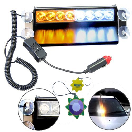 Hqrp 8 Led Emergency Car Deck Truck Warning Strobe Light White Amber Lamp Bar Plus Hqrp Uv Meter Walmart Com Walmart Com