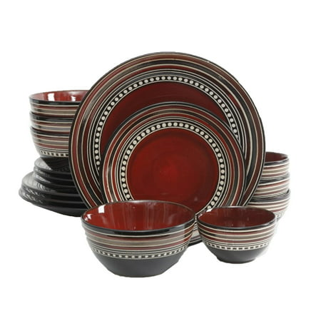 Gibson Elite Cafe Versailles 16 Piece Red Double Bowl Dinnerware Set ()