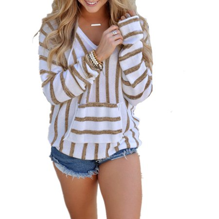 - DYMADE Women's V-neck Striped Long Sleeve Casual Loose Hooded Pullover Sweater