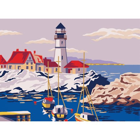 Collection D'Art Needlepoint Printed Tapestry Canvas, 30cm x 40cm, Lighthouse