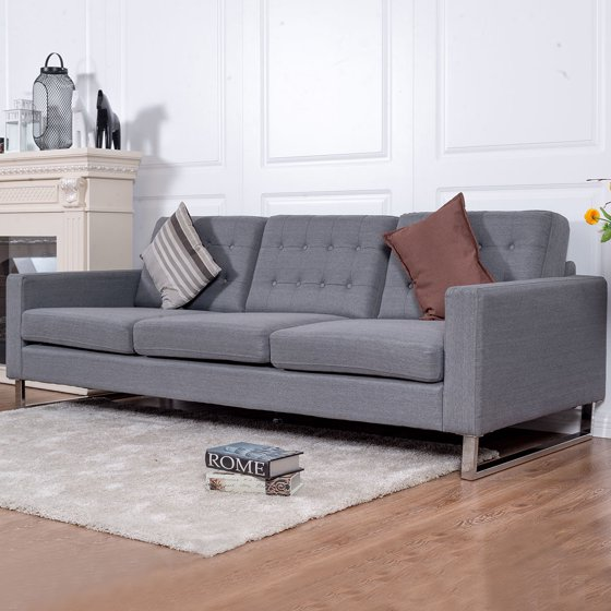 Costway 3 Seat Sofa Couch Fabric Upholstered Tufted Living Room ...