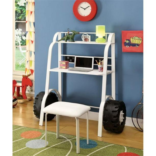Furniture Of America Ramirez Traditional Metal Kids Desk With Stool In White Walmart Com Walmart Com