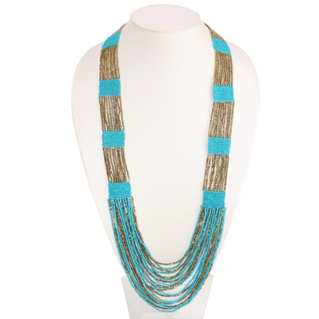 TAZZA WOMEN'S GOLD AND TURQUOISE SEED BEADS LONG LAYERED NECKLACE