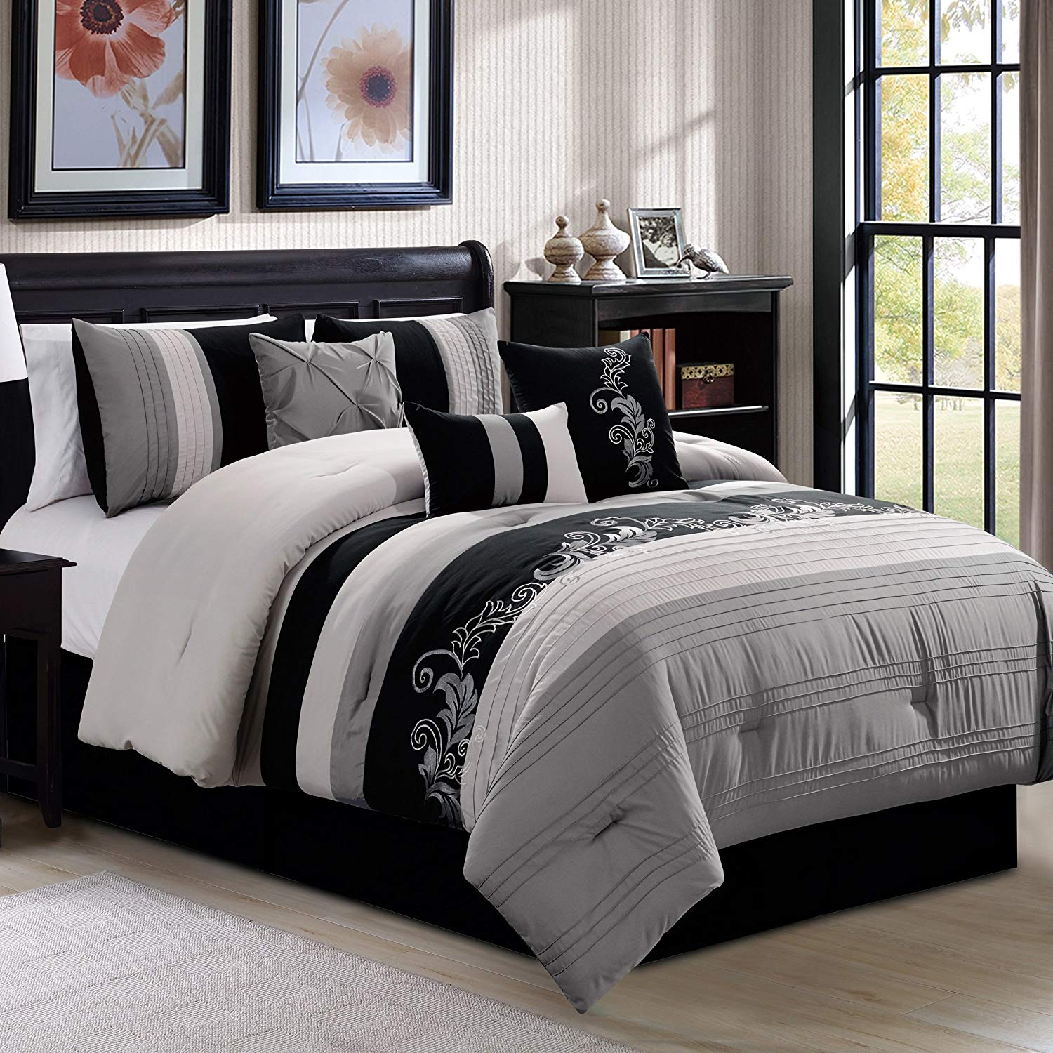 Chezmoi Collection Napa 7-Piece Luxury Leaves Scroll Embroidery Comforter Set
