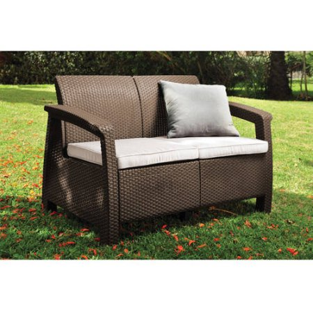 Keter Corfu Resin Love Seat With Cushions, All Weather Plastic Patio  Furniture, Brown Gray
