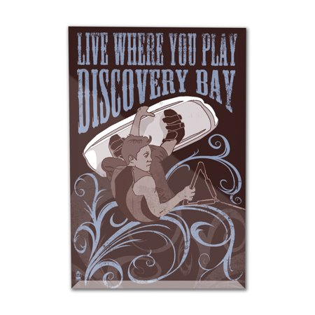 Discovery Bay, California - Live Where You Play - Wakeboarder - Lantern Press Artwork (4x6 Acrylic Photo Block Gallery Quality)