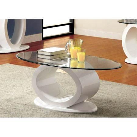Furniture of America Mason Contemporary Oval Glass Top Coffee Table in White