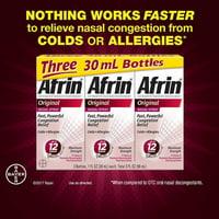 Afrin Original Nasal Spray Maximum Strength Congestion Relief (3p x 30 ml ) 90mL