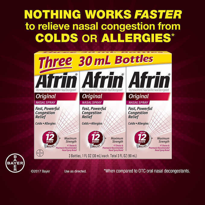 Afrin Original Nasal Spray Maximum Strength Congestion Relief (3p x 30 ml ) 90mL
