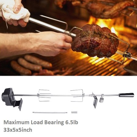 33inch Grill Rotisserie Kit, Universal Rotisserie Kit for Barbecue Stainless Steel Spit Rod Meat Forks with Electric Motor, BBQ Rotisserie Kit, Rotisserie Kit, Load-Bearing 6.5lb thumbnail