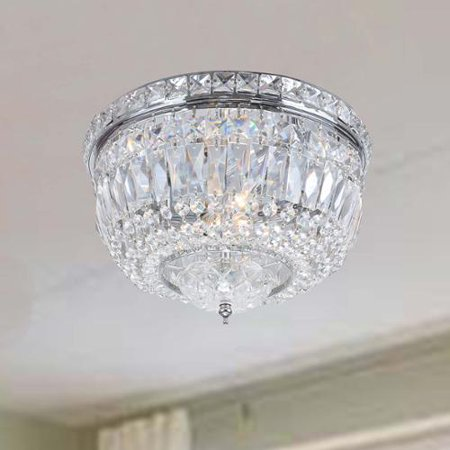 The Lighting Store Elisa Chrome Crystal Basket Flush Mount Chandelier