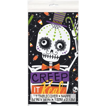 Halloween Treat Table (Skeleton Trick or Treat Halloween Plastic Tablecloth, 84 x 54 in,)