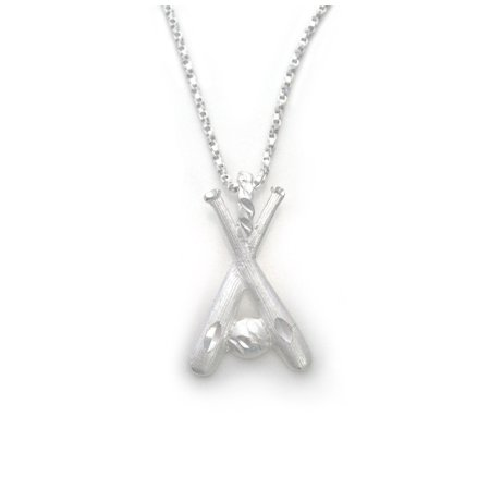Baseball Charm Necklace (Sterling Silver Two Crossing Bats and Ball Baseball Softball Charm Necklace)