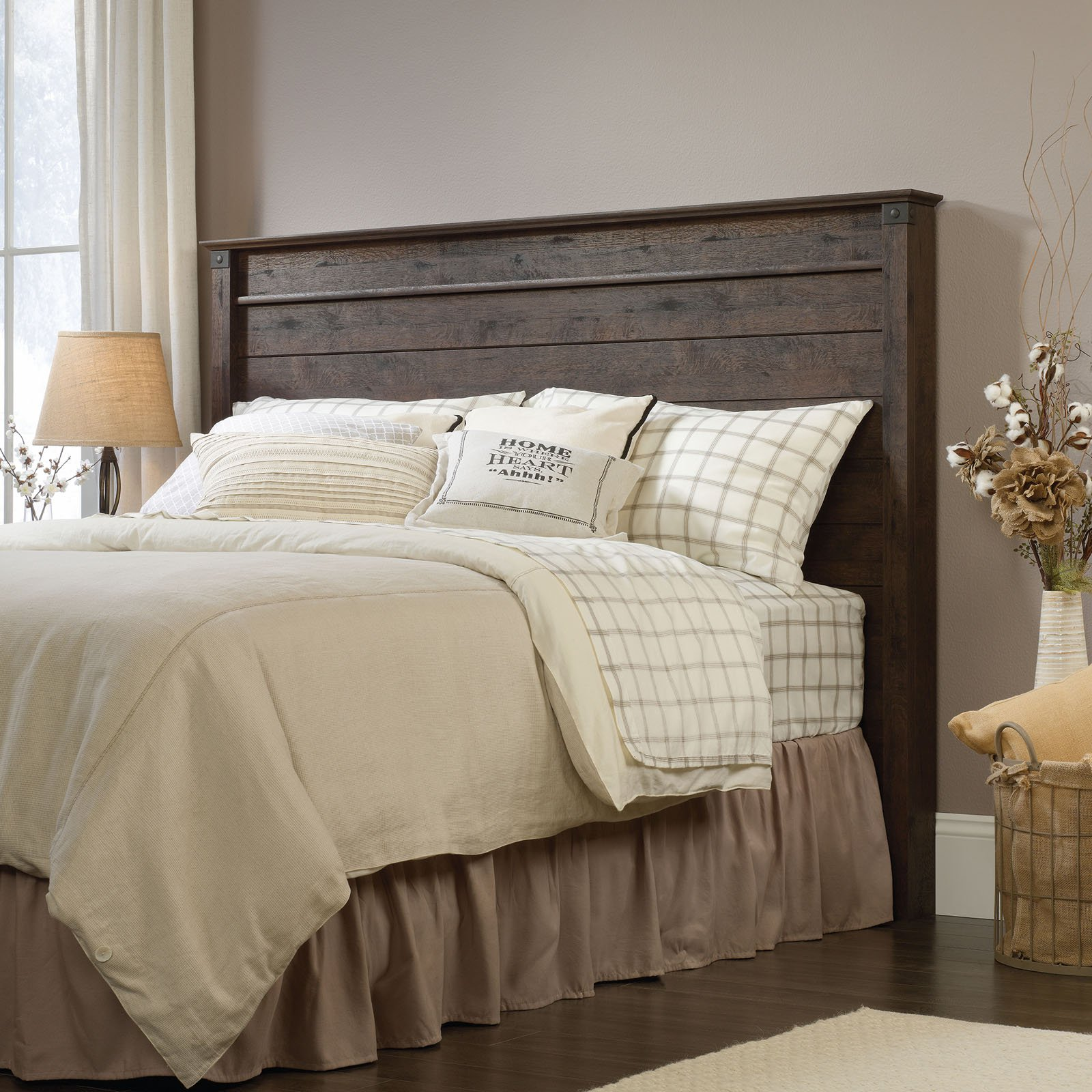 Sauder Carson Forge Full/Queen Panel Headboard, Coffee Oak Finish