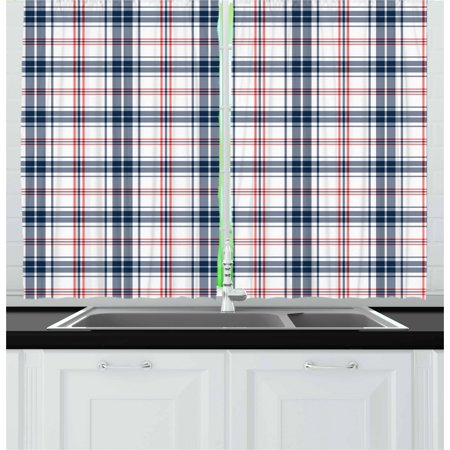 Plaid Curtains 2 Panels Set, Traditional Checkered British Country Pattern with Geometric Design, Window Drapes for Living Room Bedroom, 55W X 39L Inches, Navy Blue Vermilion White, by Ambesonne ()