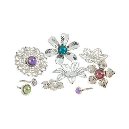 Fun Express - Silver Filigree Brads - Craft Supplies - Scrapbooking Embellishments - Brads - 24 Pieces