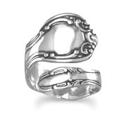 Sterling Silver Oxidized Spoon Ring Adjustable Ring