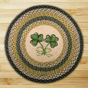 "Earth Rugs RP-116 Shamrock Printed Rug, 27"", Black/Mustard/Crème"