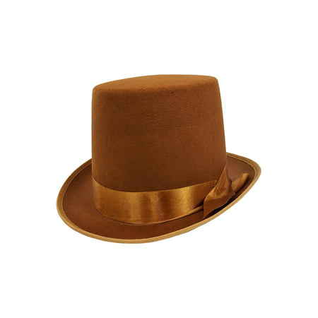 Mens Tall Steampunk Brown Bell Caroler Hop Topper Victorian Costume Top Hat - Doc Brown Cosplay
