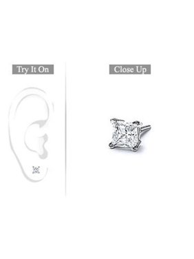 FineJewelryVault UBMER18WHSQ033D-101 Mens 18K White Gold : Princess Cut Diamond Stud Earring - 0.33 CT. TW.
