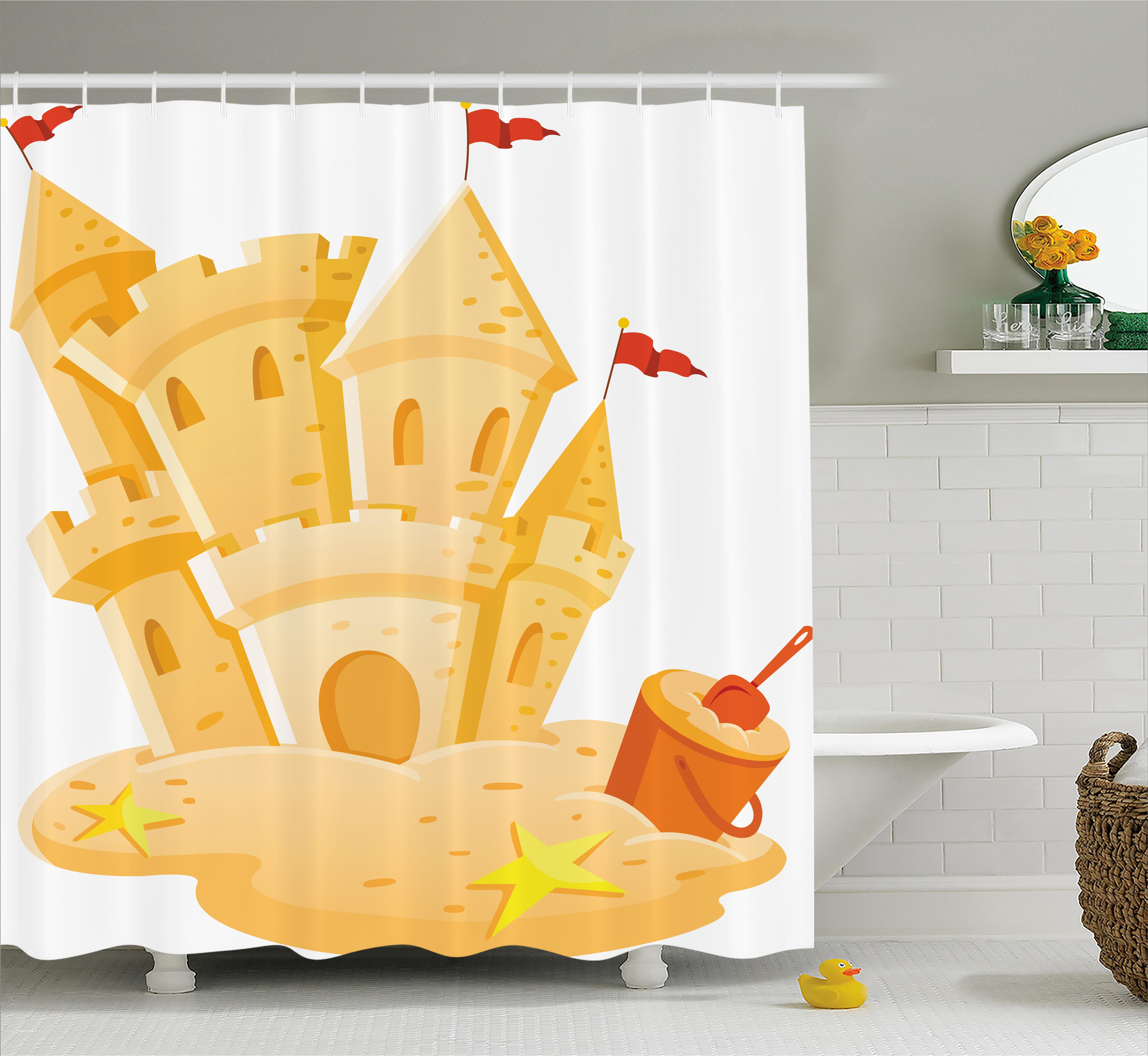 Kids Decor Shower Curtain, Sand Castle Kingdom Summer Hobby Activity on the Beach Children Game Design , Fabric Bathroom Set with Hooks, 69W X 84L Inches Extra Long, Light Yellow, by Ambesonne