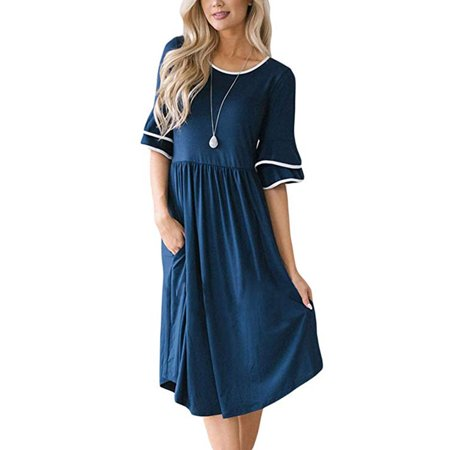 Bell Bottom Dress (Women's Bell Sleeve Casual T Shirt Floral Dress with Pockets Knee)