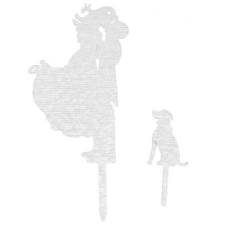 Unique Bargains Wedding Acrylic DIY Bride Groom and Dog Decor Cake Topper Silver Tone 2 in 1 for $<!---->