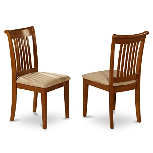 POC-SBR-C Set of 2 Portland slat back chair for kitchen with upholstered seat