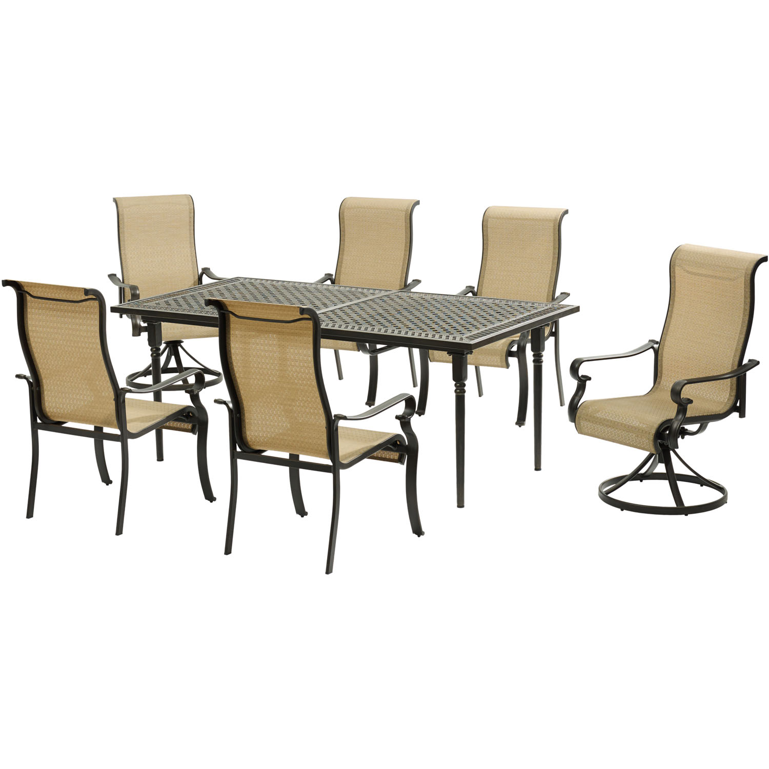 Hanover Brigantine 7-Piece Dining Set with an Expandable Cast-Top Dining Table, 2 Sling Swivel Rockers, and 4 Sling Dining Chairs
